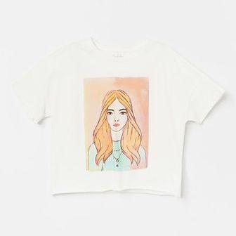 Reserved - Krótki bawełniany t-shirt z nadrukiem - Kremowy