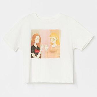 Reserved - Krótka koszulka bawełniana z nadrukiem - Kremowy