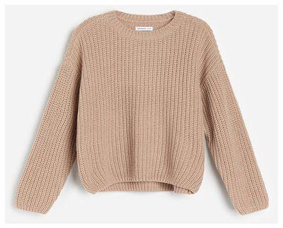 Reserved - Dzianinowy sweter w prążki - Brązowy