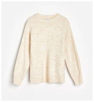 Reserved - Sweter z perełkami - Kremowy