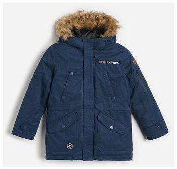 Reserved - Ocieplana kurtka z kapturem - Granatowy
