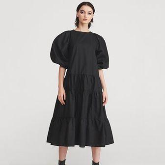 Reserved - Sukienka z szerokimi rękawami - Czarny