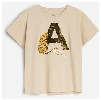Reserved - T-shirt z aplikacją - Beżowy