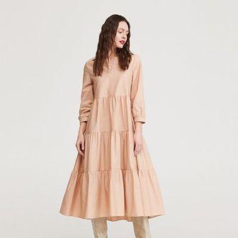 Reserved - Bawełniana sukienka - Beżowy