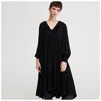 Reserved - Gładka sukienka z wiskozy - Czarny
