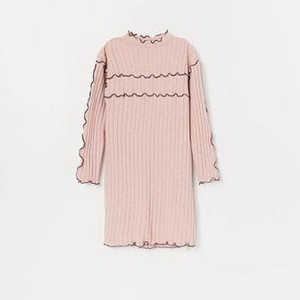 Reserved - Sukienka z prążkowanej dzianiny - Różowy