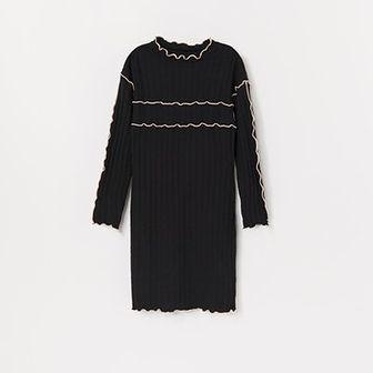 Reserved - Sukienka z prążkowanej dzianiny - Szary