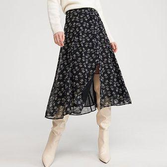 Reserved - Spódnica z drobnym wzorem - Czarny