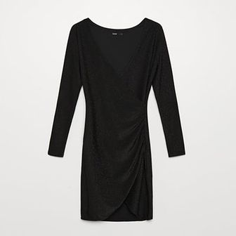 Błyszcząca sukienka o kopertowym kroju