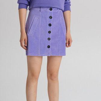Sztruksowa spódnica mini z guzikami