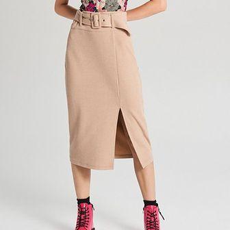 Ołówkowa spódnica midi z paskiem