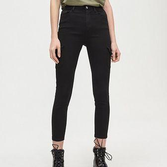 Spodnie high waist z kieszeniami cargo