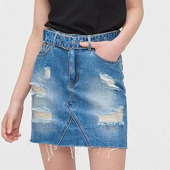 Jeansowa mini z paskiem