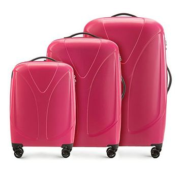 WITTCHEN Zestaw walizek malinowy policarbon