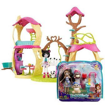 Zestaw promocyjny Enchantimals: Leśny domek, zestaw z figurkami + GRATIS: Lalka ze zwierzakiem i akcesoriami