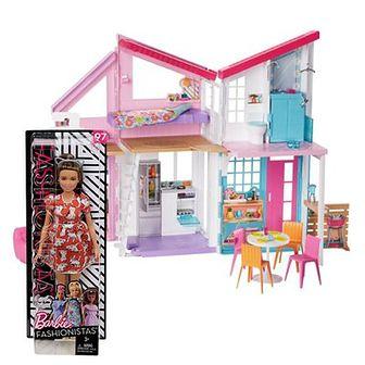 Zestaw promocyjny Barbie: Dom w Malibu, zestaw do zabawy + GRATIS: Lalka z serii Fashionistas Modne Przyjaciółki