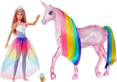 Barbie, Jednorożec Magia świateł, zestaw z lalką, światło i dźwięk