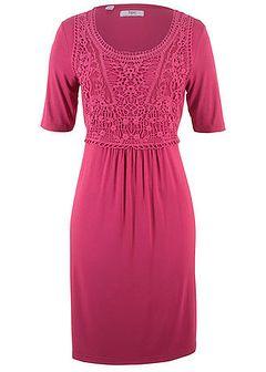 Sukienka z koronkową wstawką, krótki rękaw