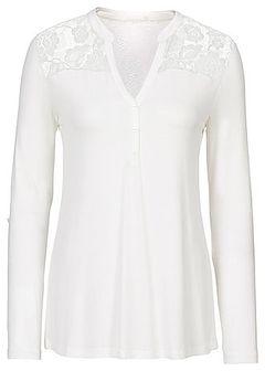 Shirt henley z koronkową wstawką