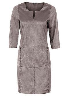 Sukienka ze sztucznej skóry welurowej