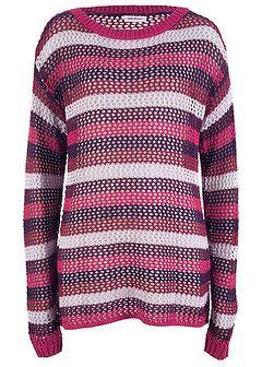 Sweter ażurowy w paski, długi rękaw