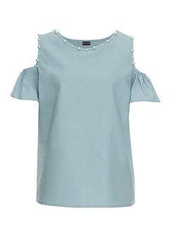 Bluzka lniana z wycięciami na ramionach i perełkami