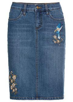 Spódnica dżinsowa ze stretchem i haftem