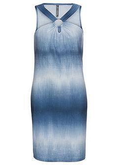Sukienka shirtowa z materiału w optyce dżinsu