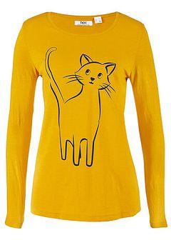 Shirt bawełniany z nadrukiem kota, długi rękaw