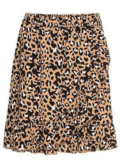 Spódnica w cętki leoparda z falbanami