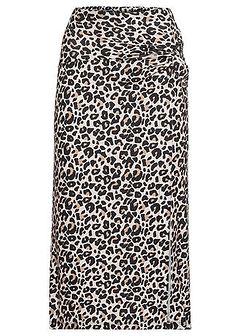 Spódnica z rozcięciem i nadrukiem w cętki leoparda