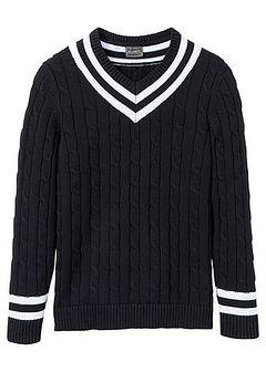 Sweter z dekoltem w serek i wzorem w warkocze