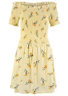Sukienka z dżerseju z nadrukiem i przeszyciem cienkimi gumkami