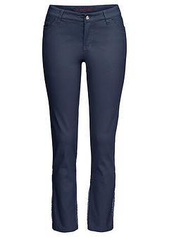 Spodnie ze stretchem i haftem, dł. do kostki