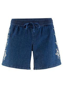 Szorty dżinsowe ze stretchem z haftem