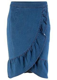Spódnica dżinsowa z gumką i falbaną