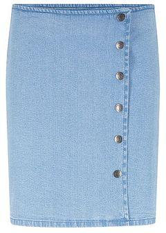 Spódnica dżinsowa z guzikami i założeniem kopertowym