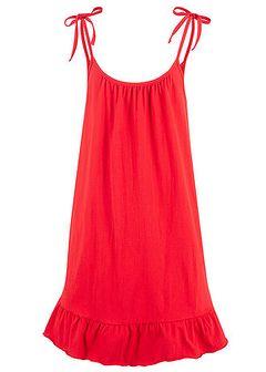 Sukienka shirtowa z falbaną i wiązanymi ramiączkami