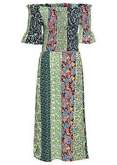 Sukienka midi z dekoltem carmen z przeszyciem cienkimi gumkami