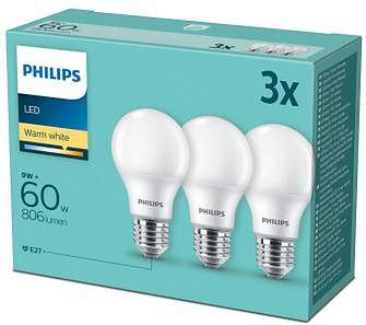 Philips LED 9 W (60 W) E27 3 szt.