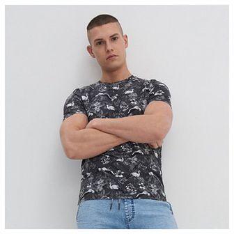 House - T-shirt z tropikalnym motywem - Czarny