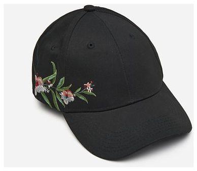 House - Czapka z daszkiem i kwiatowym haftem - Czarny