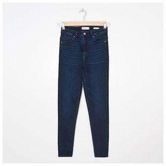 House - Jeansy high waist skinny - Niebieski