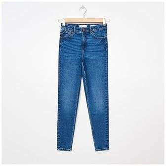 House - Jeansy high waist skinny - Granatowy