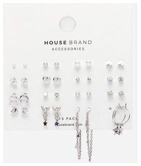 House - Duży zestaw kolczyków - Srebrny