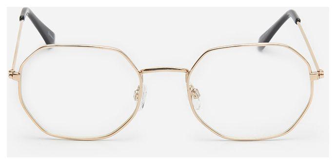 House - Okulary zerówki ze złotą oprawką - Biały