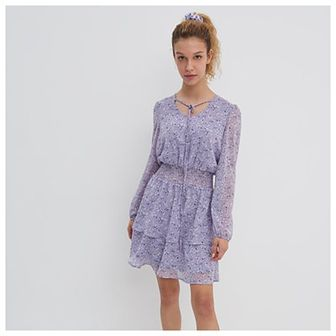 House - Wzorzysta sukienka z podkreśloną talią - Fioletowy