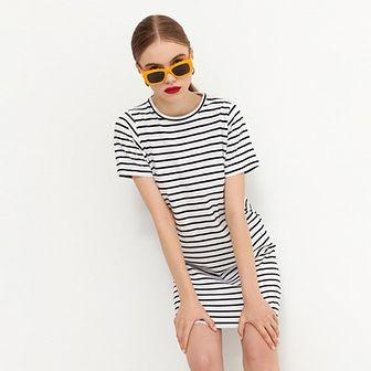 House - T-shirtowa sukienka z bawełny organicznej - Paski