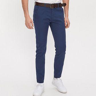 House - Spodnie chino slim - Granatowy