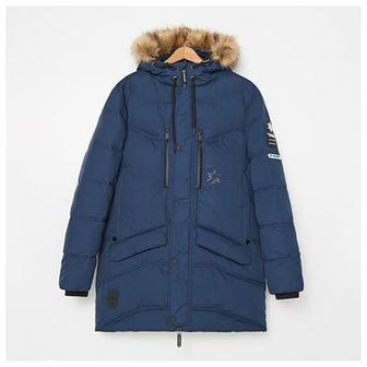 House - Puchowy płaszcz z kapturem - Granatowy